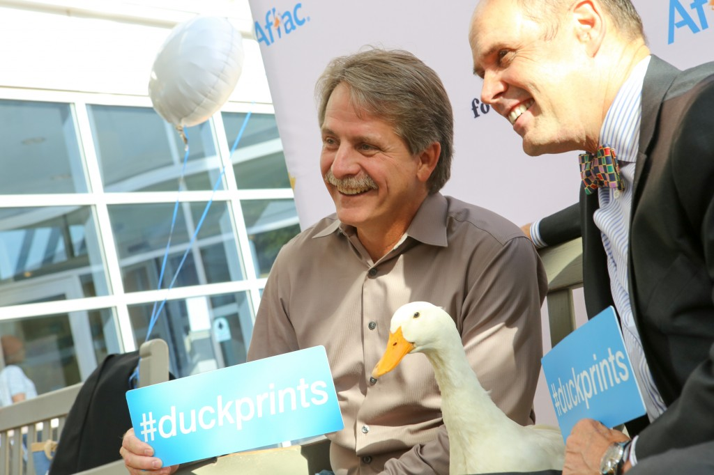 Jeff Foxworthy greets the Aflac Duck at the Aflac Cancer Center at Children's Healthcare of Atlanta.