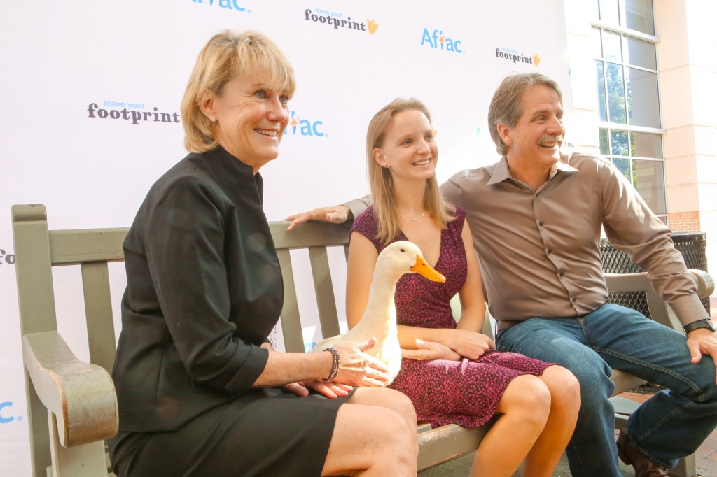 Vicki and Ansley Riedel spend time with Jeff Foxworthy and the Aflac Duck before having their footprints added to the Duckprints Wall of Fame at the Aflac Cancer Center in Atlanta.